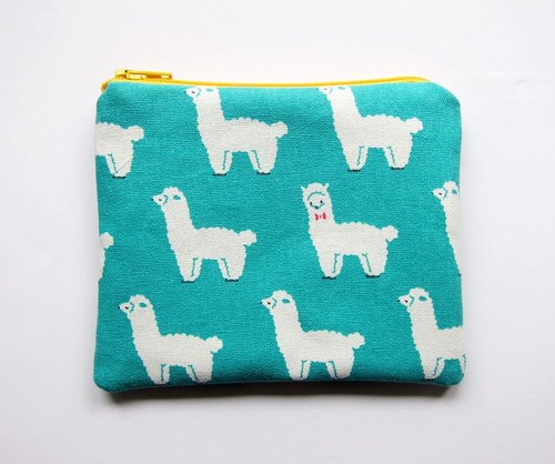 Zipper bag / purse / mobile phone sets of blue and green bottom mud horse