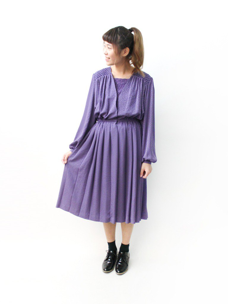 Japanese-made lace vintage lace stitching printed elegant purple long sleeve vintage dress