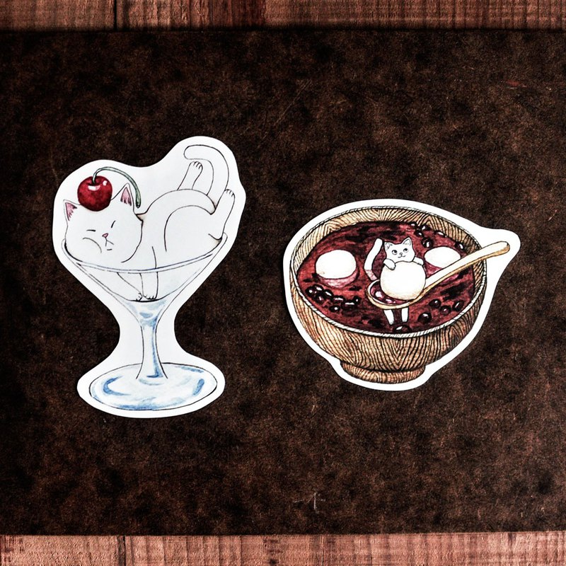 Cat food waterproof stickers / goblet / red bean dumplings - Sticker