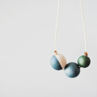 Wooden Midnight Blue & Green Necklace-2