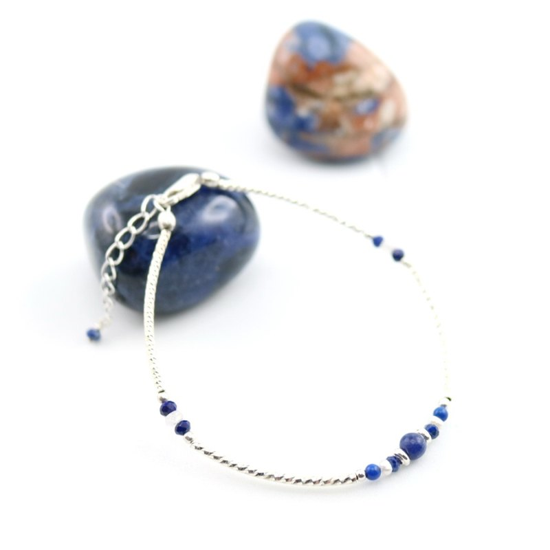 【ColorDay】Dazzling~青金石_天然珍珠_月光石純銀手鍊〈Lapis Lazuli_Moon Stone_Natural  Pearl Silver Bracelet〉