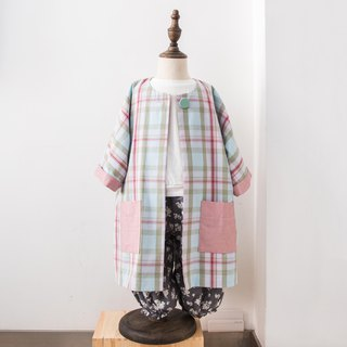 Kids Pastel Plaid Long Coat