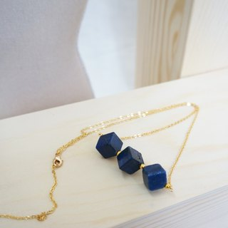 Little cube LapisLazuli Royal Blue Vintage Necklace