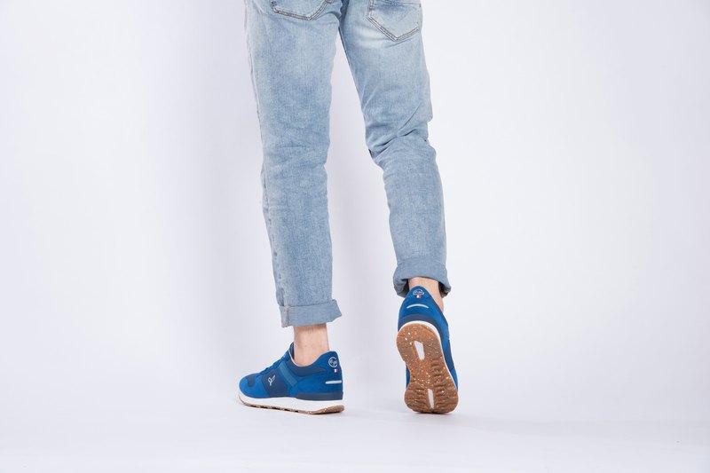寶特瓶製休閒鞋  La Lande 復古慢跑鞋  寶藍色   男生款