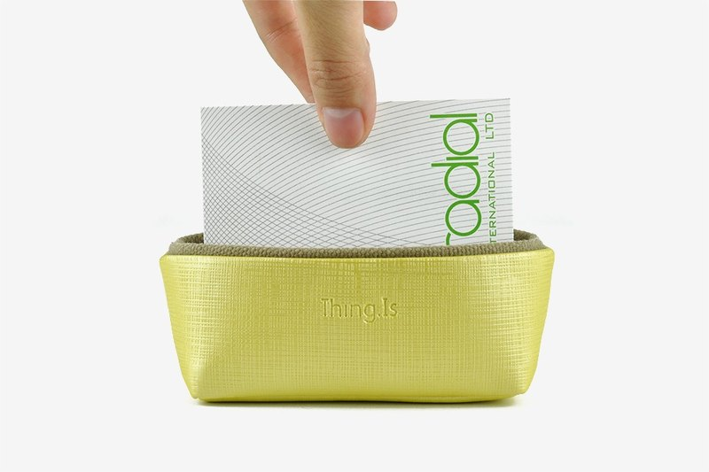 Business Card Holder, Card Case for Desk, Office Storage, Yellow