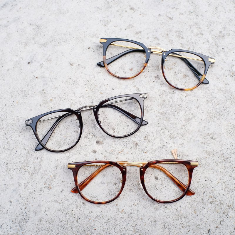 [Head line] South Korea's new retro gold titanium light frame glasses frame