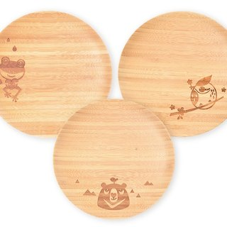 la-boos three disc set of dessert, picnic wobble plate (Formosan black bear, Mohs tree frog, crown feathers thrush)