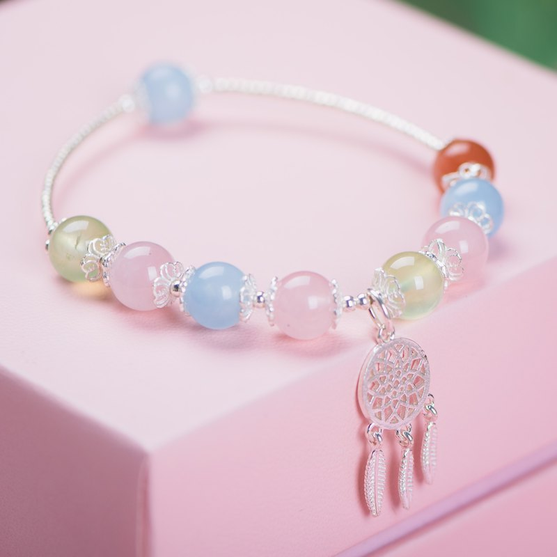 [dream catching] grape stone. Hailanbao. Sun Stone. Pink crystal. 925 sterling silver bracelet