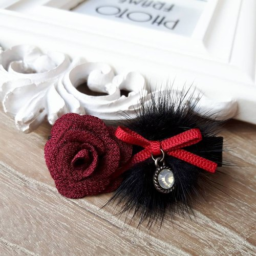 Warm water mane rose hairpin / black + dark red