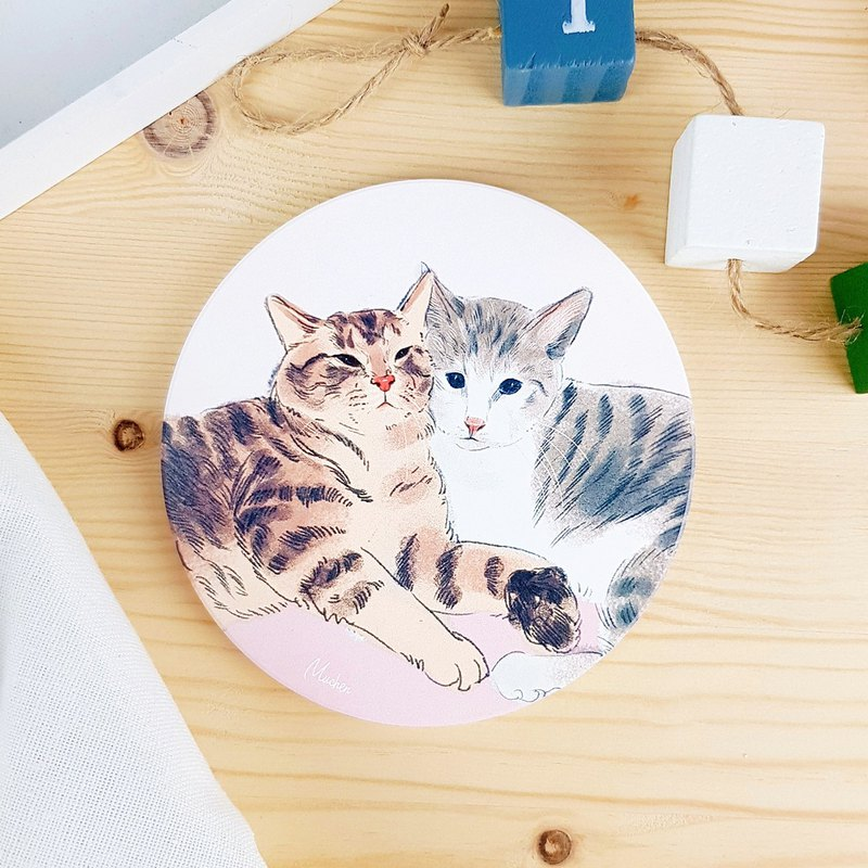 Cats and cats couples - round ceramic drinking coasters / animals Shiba Inu. Christmas gifts