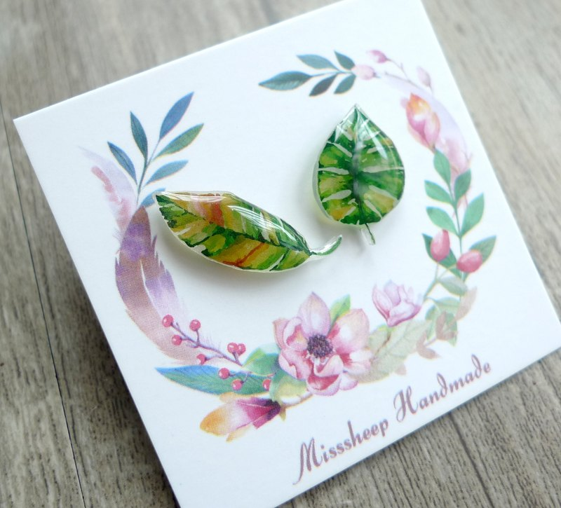 Misssheep- [U08- Leaves] hand-painted watercolor style leaves asymmetrical earrings (ear acupuncture / transparent ear clip) [a pair]