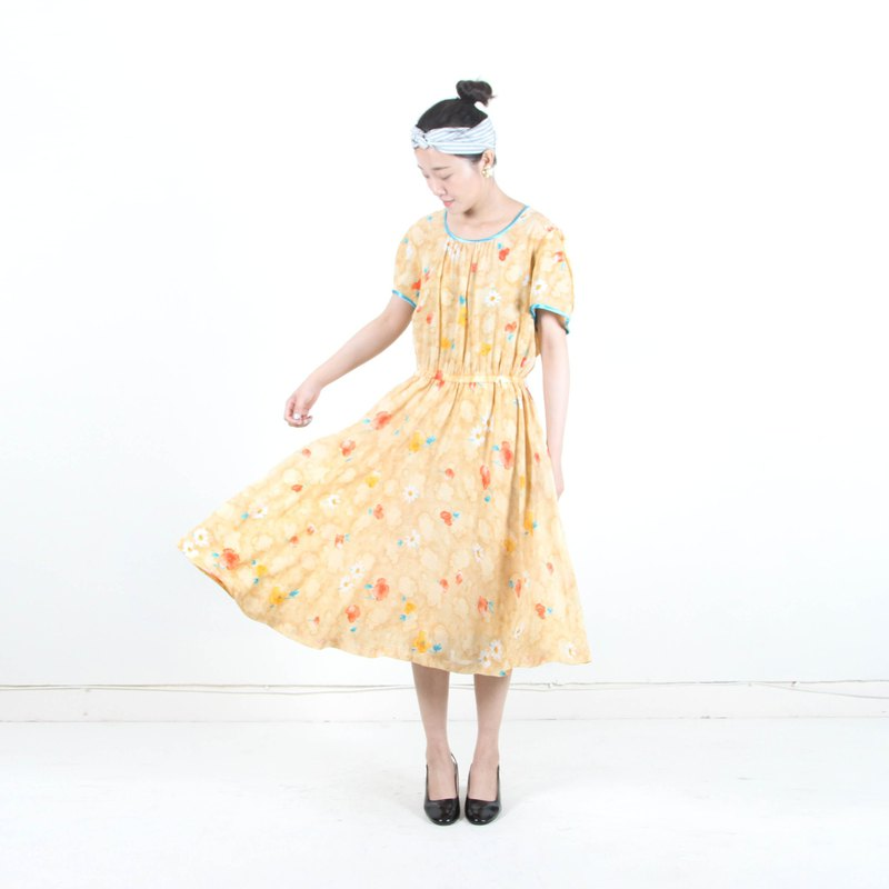 (Eggs and plants vintage) incense custard printing short-sleeved vintage dress