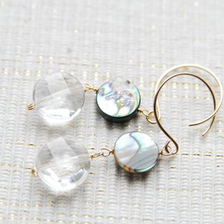 Coin type Avalon shell and stone earrings 14 kgf
