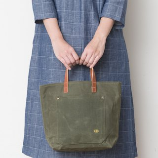 Mushroom MOGU / Canvas Tote / Paraffin Waterproof / Military Blanket Green / My Darling