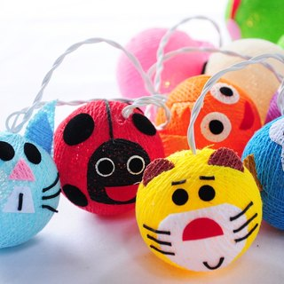 20 LED Battery Powered Happy Animal Cotton Ball String Lights for Home Decoration, Kid Decor, Party, Bedroom, Patio and Decoration