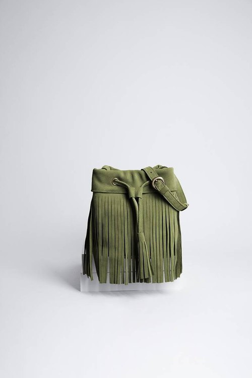 Leather fringe Bag ( Green) : The Undressed WASABI