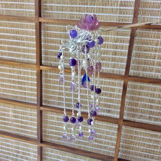 喵 Handmade ~ Chinese Style Gorgeous Flower Butterfly Love Hairpin / Purple / Gold (Brass Color) / Silver