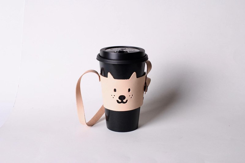Small leather dog environmental protection leather cup holder beverage bag [can be stored design / free lettering 1-9 words]