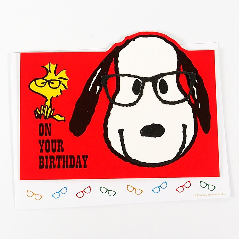 Snoopy wear glasses to open a birthday party [Hallmark stereo card birthday blessing]