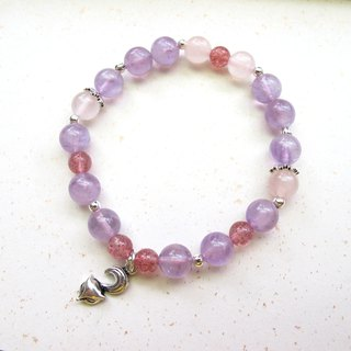 [Little Fox] Pink Crystal x Strawberry Crystal x Amethyst x 925 Silver Jewelry - Natural Stone Series