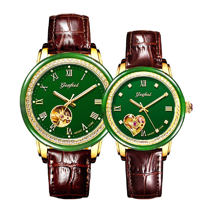 Hollow leather strap with diamonds around the Hhotan Jasper mechanical watch with jade identification certificate