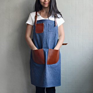 【Invisible cloak gear】 cross straps imported leather washable canvas aprons (red brown leather + blue washed canvas)