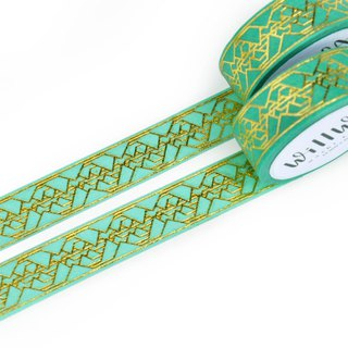 Green Golden Reflection gold foil washi tape 15mmx10m - Elegant swedish design