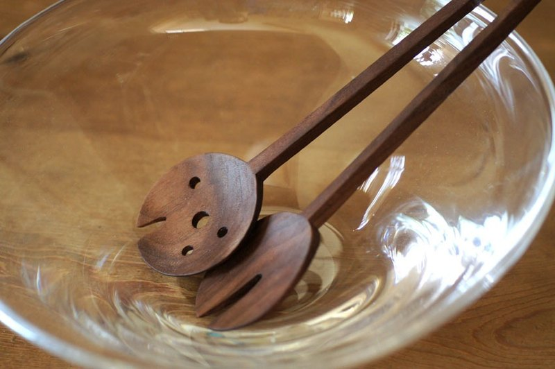 Server spoon and fork (walnut)