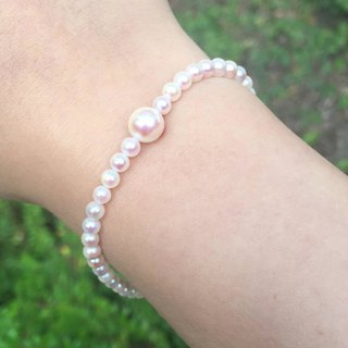 Small & Big Japanese Akoya Pearls Bracelet with 18K White Gold Clasp