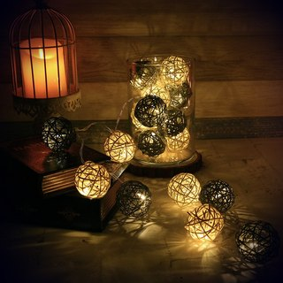 "HomePlus LED Atmosphere Rattan Ball Lights - Grey ""Battery"" 2m long"