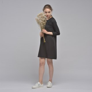 Elegant nine-point sleeves wrinkled dress