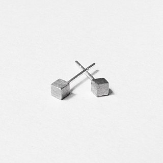 Crazy Geometry | 3mm Matte (Small) Cube Square Squares Sterling Silver Earrings (Single Side)