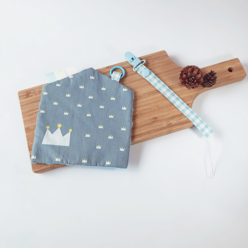 Handmade peas soothing towel with pacifier chain entry two-piece group can be customized - cabin gray blue