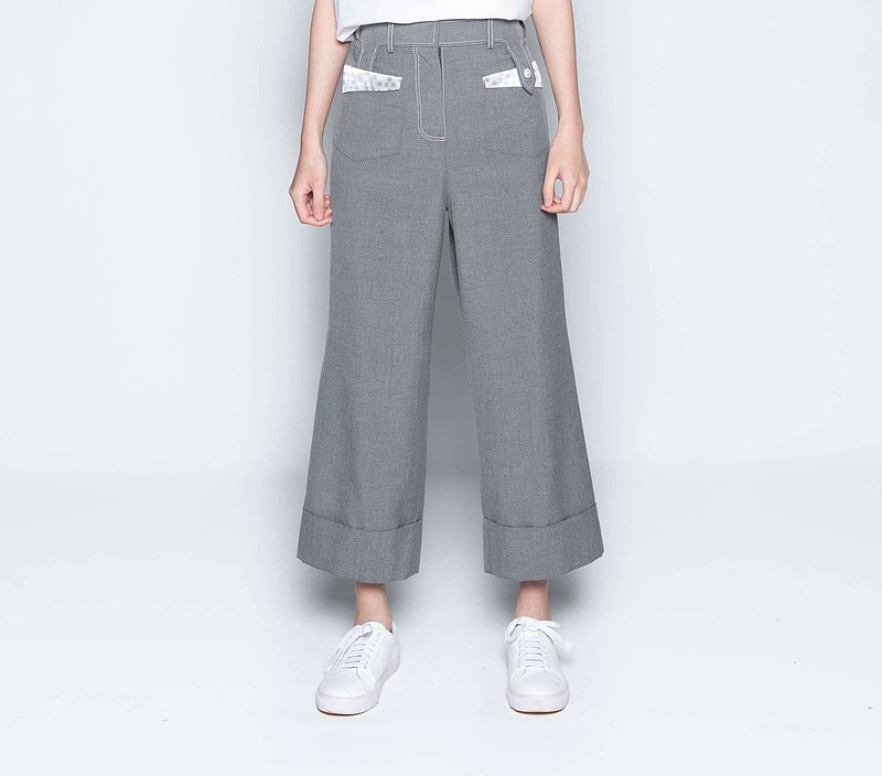 Straight Satin Pocket Reverse Fold Wide Pants-Light Gray