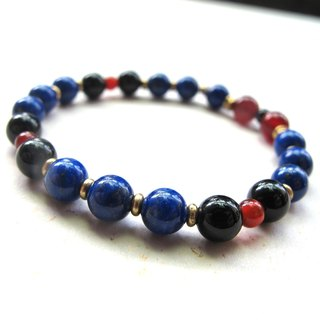 [Free shuttle] lapis lazuli x red agate x black agate x brass - hand-created natural stone series