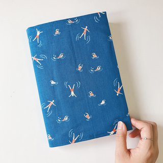 Swimming small figure cloth handmade book cover | 815a.m