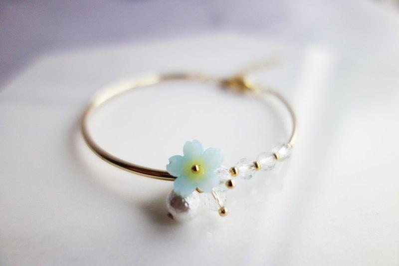 Rosy Garden 手繪製作 薄荷藍色櫻花水晶穿珠鍍金手鐲 手環