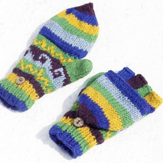 Christmas gift creative gift limited a hand-woven pure wool knitted gloves / removable gloves / bristles gloves / warm gloves (made in nepal) - South America magic blue forest national totem