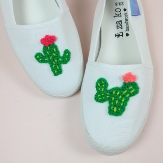 White cotton canvas hand made shoes passionate cactus models without weaving