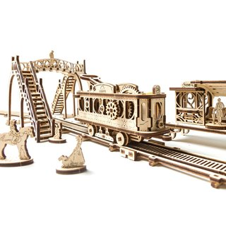 /Ugears/ Ukrainian wooden model machinery town - tram stop Tram Line