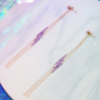 Swanlace amethyst long tassel 14kgf gold earrings earrings 2way