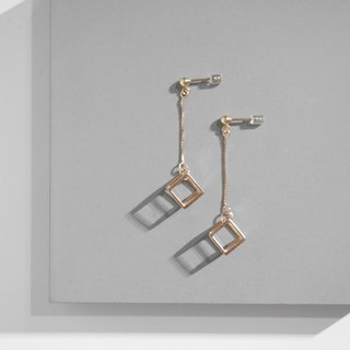 18K Rose Gold Cubic Cube Dropped Earrings Valentine's Day Gift