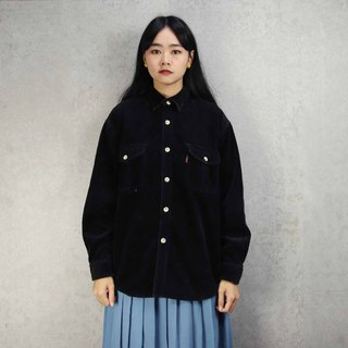 Tsubasa.Y Antique House A13 Pure Black Thick Corduroy Shirt, Corduroy Shirt