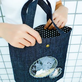 Long scallop shell sea sand ocean bubble dark blue washed denim handbag out bag shopping bag