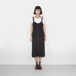 Black gray knit vintage camisole long skirt BL6010