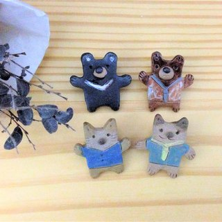 Forest Animal Handmade Ceramic Pins (Mini Version)