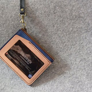 YOURS Document Holder + Change Bag Double Function Cork Leather + Blue Leather (Black Ribbon Included)