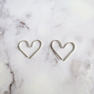 925 Silver Simple Heart-shaped Earrings-Sold as a Pair