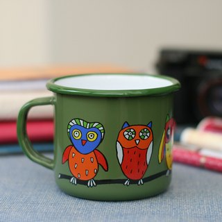 Smaltum Prague enamel cup to stay owl _ dark green (350ml) (FDN000369)