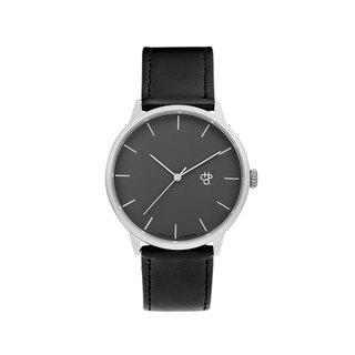 Chpo Brand Swedish Brand - Khorshid Collection Silver Grey Dial Black Leather Watch
